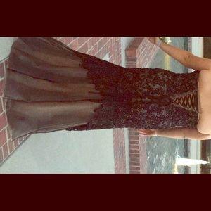 Black and nude mermaid prom dress